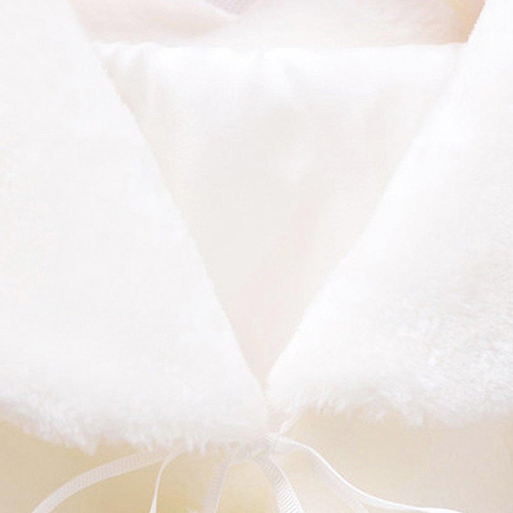 Tortor 1Bacha Kid Faux Fur Long Sleeve Wedding Flower Girl Shawl Wrap Cape