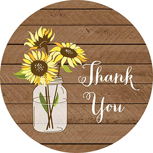 40 cnt Sunflower Thank You Stickers - Favor Stickers - Thank You Labels and Seals (Wood)