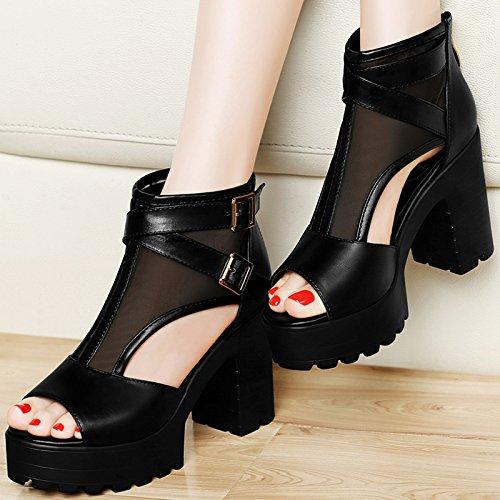 Fil Les Chaussures SHOESHAOGE Avec Talons À Épais Bouche Sous Réseau Poisson UK133 Chaussures Sandales EU35 Hauts UwSY1q