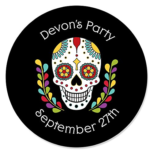 Halloween Party Text Invite (Big Dot of Happiness Personalized Day of the Dead - Custom Halloween Sugar Skull Party Favor Circle Sticker Labels - Custom Text - 24)