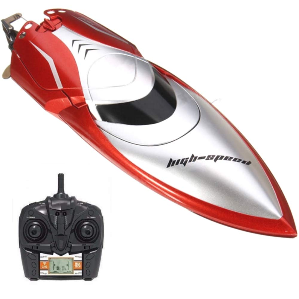 Haktoys HAK606 New 2018 High-Speed 2.4GHz Futuristic RC Boat with Capsize Recovery, Double-Hatch Protection | LCD Screen Remote Control Hobby Racing Yacht | Great Present Toy Beginners, Kids & Adults