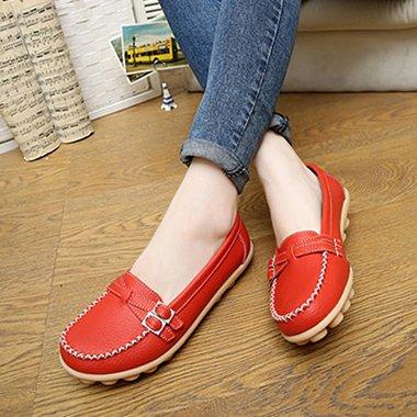 Zapatos De Red Cuero NGRDX Zapatos amp;G Hembra Zapatos Unidad De Femeninos Zapatos Suave Mujer Zapatos Pu Wine De Cuero Plana De Verano Cómodos T66qBw