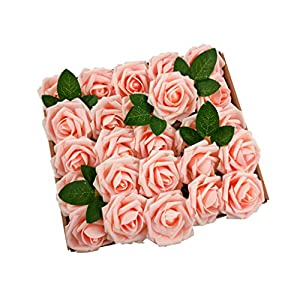 Fupot Solkool Artificial Flowers Real Looking Foam Roses Decoration DIY for Wedding Bouquet Bridal Bridesmaid Centerpiece Baby Shower Party Decoration Home Decoration 10