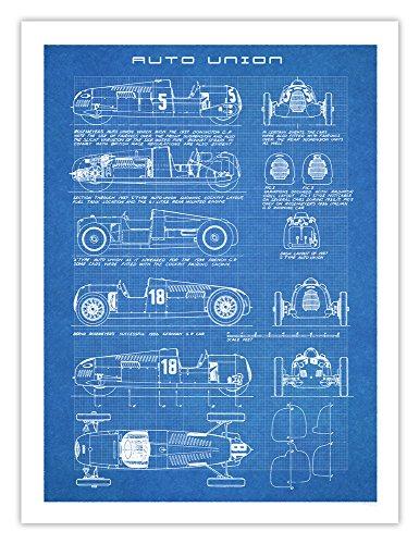 Auto Union Race Cars - Auto Union Race Car Poster Art Handmade Giclée Gallery Print Blueprint Type A C D 18x24 Inches Unframed (Blueprint)