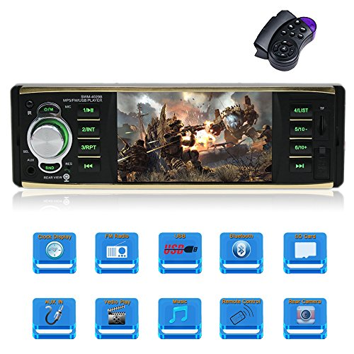 4.1 Inch single Din Car Stereo with Bluetooth Car MP5 Player FM Radio Car Audio Bluetooth Support Streering Wheel Control and Rear View Camera