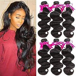 Beauty Princess 3 Bundles Body Wave 8A Unprocessed Brazilian Body Wave 3 Bundles 100% Vigin Human Hair Weave Extensions Natural Color (24 26 28inch)