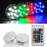 Kitosun Submersible LED Lights 2.8'' 3aaa Battery RGBW Multicolors Waterproof Light w/Remote for Wedding Baby Shower Centerpiece Aquarium Pond Pool Party Vase Kayak Halloween Hookah Floral Lighting