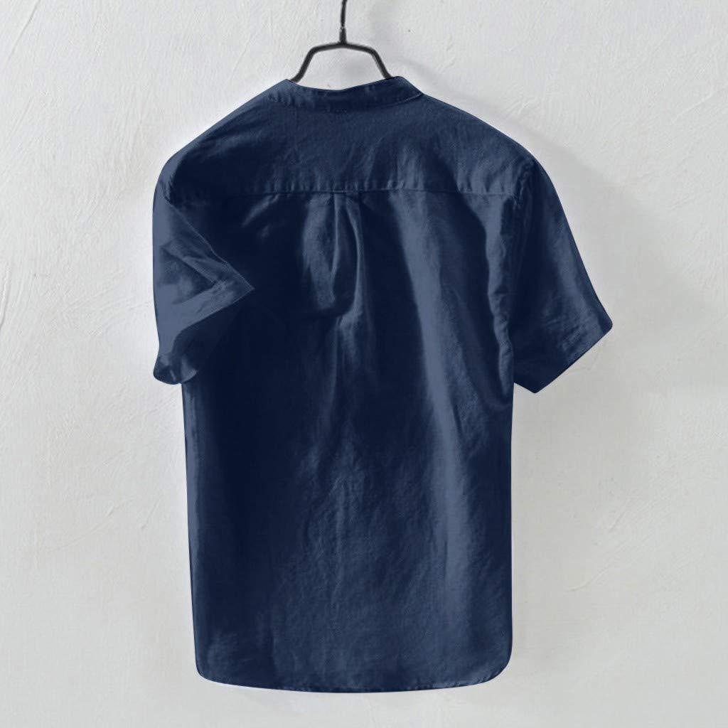 NIKAIRALEY T-Shirt Mens Button Down Cotton Linen Shirts Short Sve Loose Summer Solid Beach Casual Retro Tees Tops Blouse