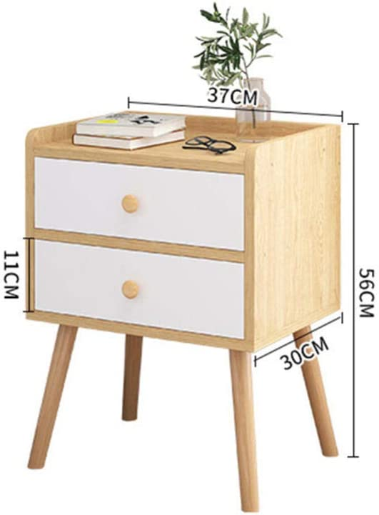 NVBXDF Bedside Table Nordic Style Side Table for Bedroom with 2 Drawers Wood Leg Wood Silk Gloss Modern Style-Wood grain color Blue