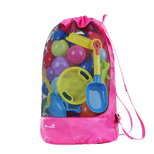 EocuSun Large Mesh Beach Bag Tote Durable Sand Away Drawstring Beach Backpack Swim and Pool Toys Storage Bags Packs, Stay Away From Sand and Water (Hot Pink) -