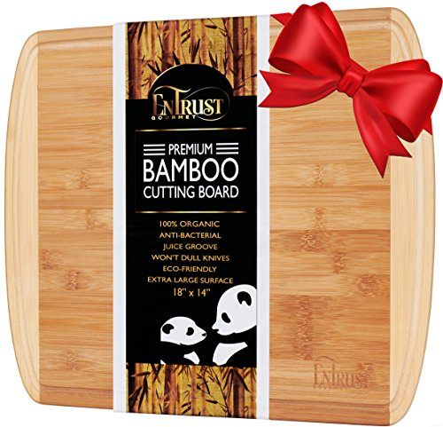 ORGANIC BAMBOO CUTTING BOARD- EXTRA LARGE PREMIUM KING SIZED 18''x 14'', with 2 oz DRIP GROOVE, WARRANTY INCLUDED, Eco Friendly Wood, Perfect Wooden Cheese Board or Serving Platter, NON-SLIP (Extra Wooden Boards Large Cutting)