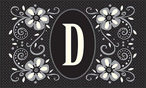 Toland Home Garden Monogram D 18 x 30 Inch Decorative Floor Mat Classic Flower Design Pattern Doormat