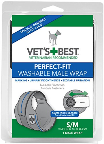 Vet's Best Washable Male Dog Diapers | Absorbent Male Wraps with Leak Protection | Excitable Urination, Incontinence, or Male Marking | Small/Medium | 1 Reusable Dog Diaper Per Pack