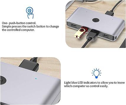 KVM Switch USB 2.0, Conmutador USB 2 Entradas y 4 Salidas, Ladron ...
