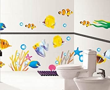 DecoBay Fish Bathroom Stickers/Childrens Room Wall Stickers   Adhesive  Removable Wall Stickers Bathroom Wall Part 9