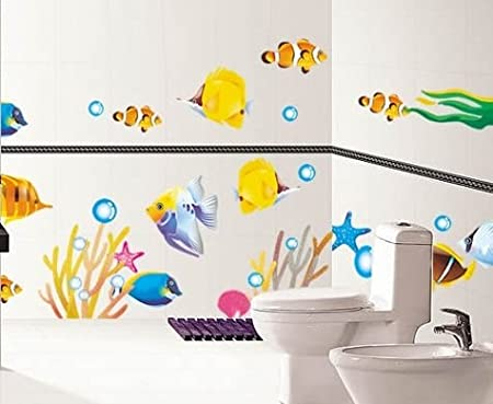 Beautiful DecoBay Fish Bathroom Stickers/Childrens Room Wall Stickers   Adhesive  Removable Wall Stickers Bathroom Wall