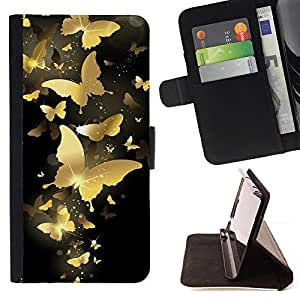 For HTC One M9 Gold Butterfly Bling Black Paint Money Style PU Leather Case Wallet Flip Stand Flap Closure Cover