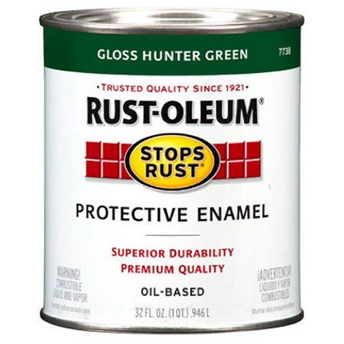 - Rust-Oleum 7738502 Protective Enamel Paint Stops Rust, 32-Ounce, Gloss Hunter Green