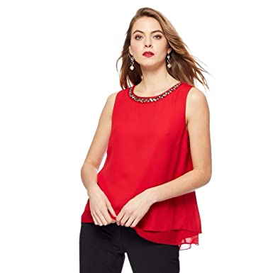 1681186d852 Womens Ladies Sleeveless Chiffon Embellished Necklace Top Blouse Black Red  (12