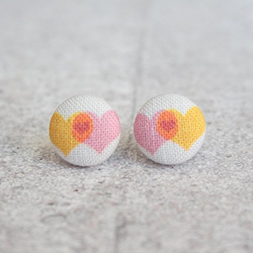 Love Plus Love Overlapping Heart Fabric Button - Overlapping Hearts