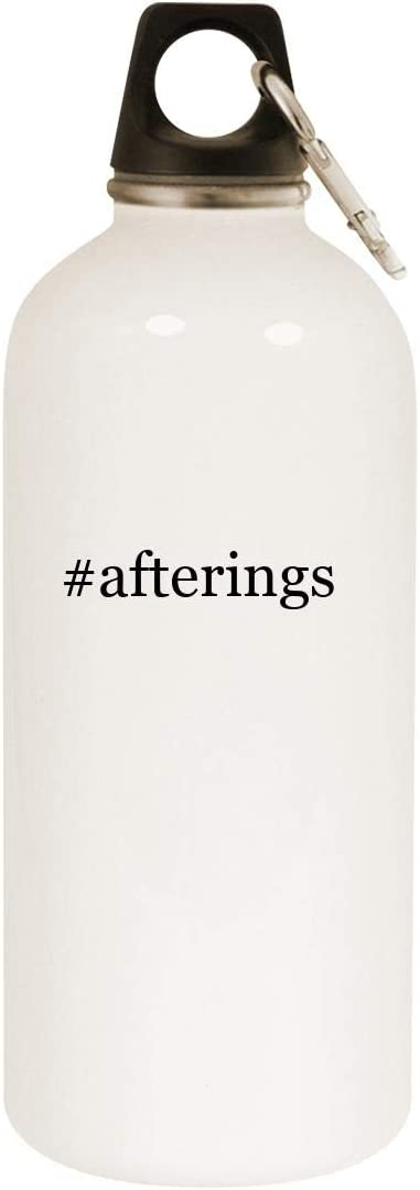#afterings - 20oz Hashtag Stainless Steel White Water Bottle with Carabiner, White