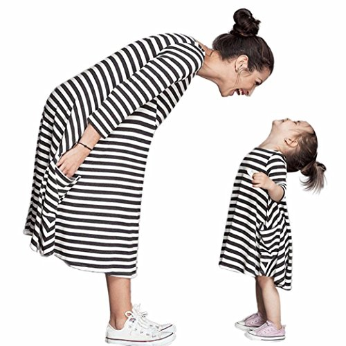 Blackobe Mother/Daughter Black White Striped Dress Casual Family Clothes Women Dress (3-4Y) (Kids Black And White Striped Tights)