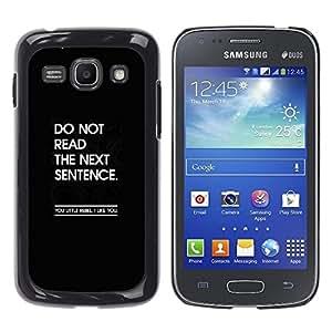 Cita Mensaje divertido Negro Inspiring- Metal de aluminio y de plástico duro Caja del teléfono - Negro - Samsung Galaxy Ace 3