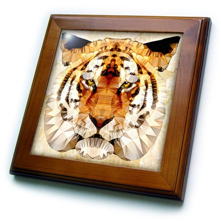 - 3dRose Abstract Tiger-Wild Tiger-Framed Tile, 8 by 8