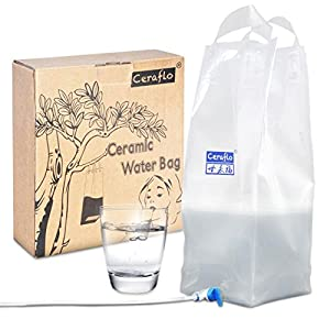 TOTAL SURVIVAL Ceramic Water Filter Bag to Purify Water for Camping / Hiking / Emergency, 6 Liter Capacity