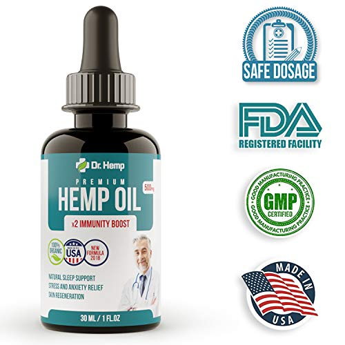 Hemp Oil Extract - 500 mg - Reduce Stress, Anxiety and Pain - Mood and Sleep Supplement - Pure Herbal Drops - Rich in MCT Fatty Acids - Made in USA