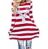 Mallcat Women Stripe Dress Christmas Elk Casual Dress