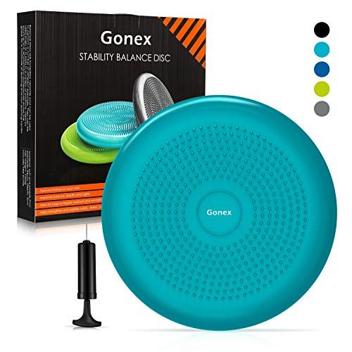 Gonex Balance Disc with Pump, Wiggle Seat for Sensory Kids or Adult Inflatable Cushion Stability Chair Wobble Cushion for Classroom Office Yoga Exercise, 1pc Turquoise