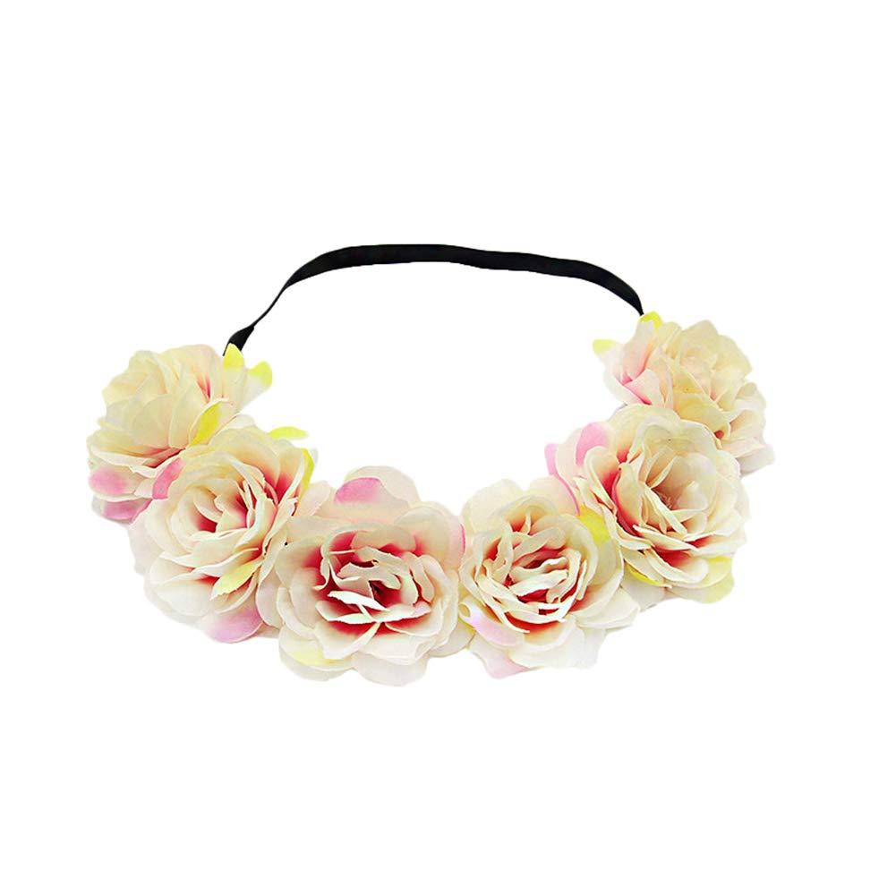 Daliuing Fascia per Capelli Headwear Diadema di Ghirlanda di Fiori Fiori aukmla Boemia per spose E Damigelle d Onore 1#1
