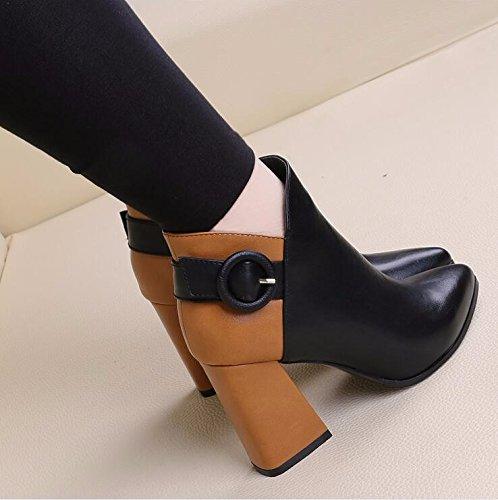 KHSKX-Neue Frauen - Stiefel Klett - Knöpfe High Heels Martin Stiefel Zip Kurze Kanister Nackt - Stiefel black