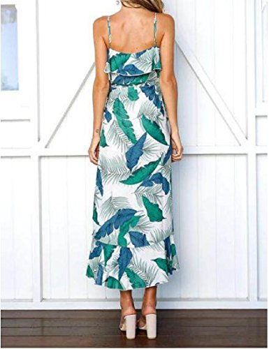 Floreali Slittamento donne Cinghie Di Vestito Della Spaghetti Irregolari Verde Sexy Coolred Stampa qEC6waC