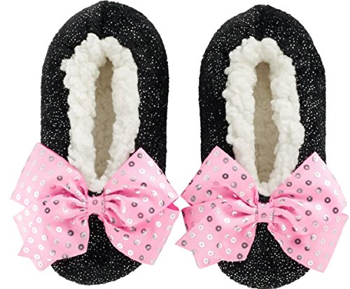 Nick Jr JoJo Siwa Girls Slipper Socks Sparkly Babba Slip On Pink Bow Faux Fur (S/M Fits Shoe Size Little Girl 8-13, Black Pink Bow)
