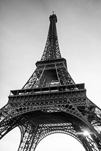 Eiffel Tower Paris France in Black and White Photo Art Print Poster 24x36 inch