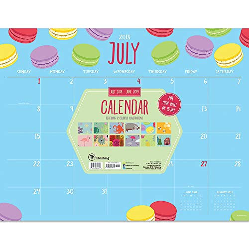 (TF Publishing 19-8024A July 2018 - June 2019 Monthly Theme Desk Pad Calendar, 22 x 17