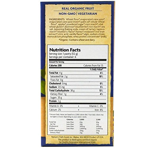 Nature's Path, Organic Frosted Toaster Pastries, Buncha Blueberries, 6 Tarts, 52 g Each(Pack of 4)