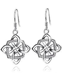 Women's Good Luck 925 Sterling Silver Celtic Knot Drop&Dangle Earrings Drops