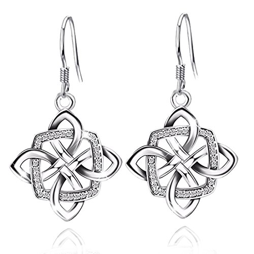 JUFU Women's Good Luck 925 Sterling Silver Celtic Knot Drop&Dangle Earrings Drops (Silver) (Earrings Sterling Celtic)