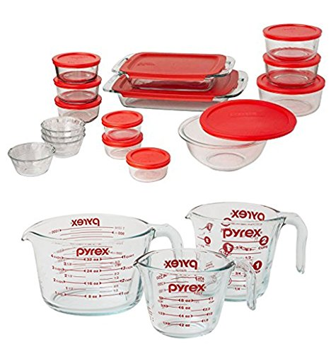 Bundle Includes (31 Pieces Total) - Pyrex Easy Grab 28-Piece Glass
