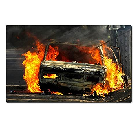 Luxlady Large TableMats Delivery type vehicle on side of road burning with large flames and smoke Car IMAGE 30781721 Customized Art Home (Exploding Smoke Bombs)