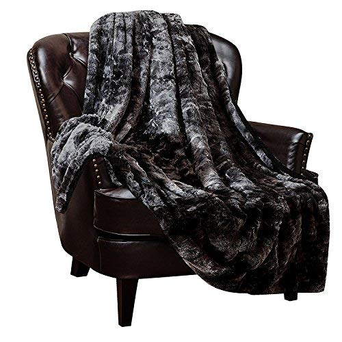 Chanasya Fuzzy Faux Fur Throw Blanket - Light Weight Blanket for Bed Couch and Living Room Suitable for Fall Winter and Spring (60x70 Inches) Black (Living Gold Room And White Silver)