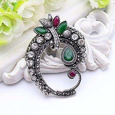 5bbce6bb37 Amazon.com: Vintage Women Antique Silver Color Brooch Pins Turkish ...