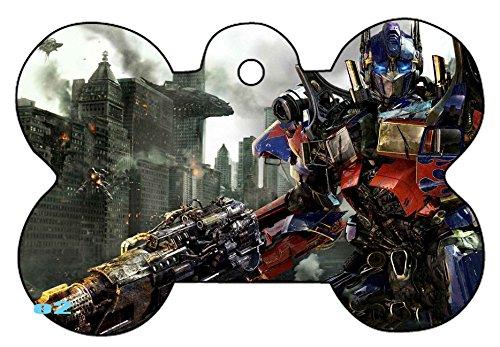 Autobots Decepticons Optimus Prime Art Logo Dog Pet Cat ID Tag Bone Shape Image PhotoPersonalized with Key Ring (Face) (Optimus - Shapes Face Images Of