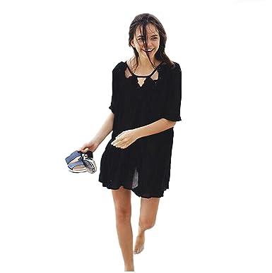 b7d75704a27 Yiyada Womens Oversized Lace Short Sleeve Crochet Fringe Beach Kaftan  Beachwear Cover-up Pareos dresses Sarong (black)  Amazon.co.uk  Clothing