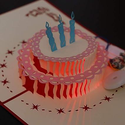 Cici Store Joyeux Anniversaire 3d Carte Pop Up Avec Lumiere Et Musique Faite A La Main Carte De Vœux Pour Noel Pour La Fete De Noel 5 X 6 Cm 12 5x15 5cm 3 Amazon Fr