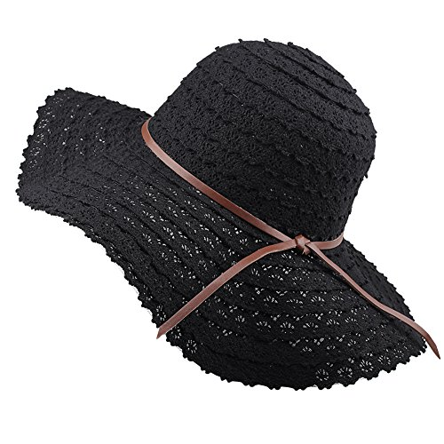 FURTALK Summer Beach Sun Hats for Women Foldable Floppy Lace Cotton Wide Brim Hat Caps Black