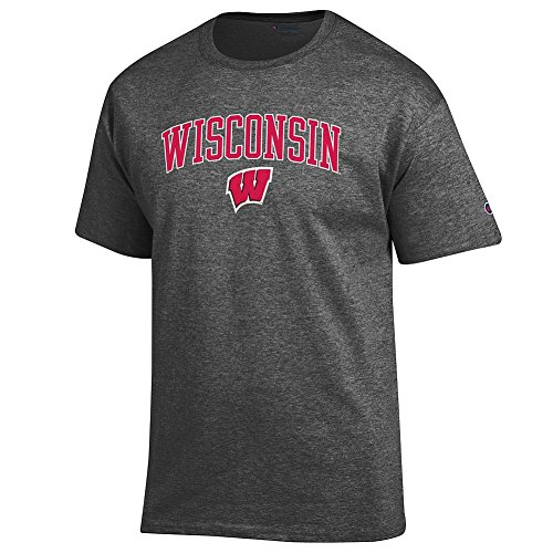 Shirt Gray Wisconsin - Elite Fan Wisconsin Badgers Men's Short Sleeve Arch Tee Shirt, Dark Heather, Large